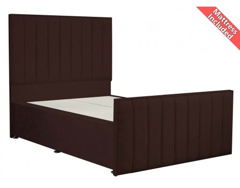Luxan Hampstead Dun Colours Bed Set - Chocolate - Small Double 4ft - 2 Drawers