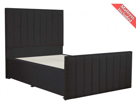Luxan Hampstead Dun Colours Bed Set - Charcoal - Small Double 4ft - 4 Drawers