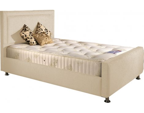 ValuFurniture Calverton Divan Bed & Mattress Set - Cream Chenille Fabric - Small Double - 4ft