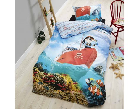 Dreamhouse Little Pirate Duvet Cover Set For Kids - Multicoloured - Single 3ft