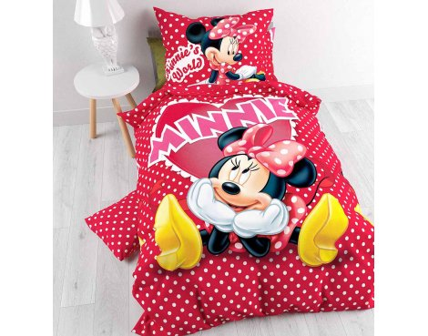 Disney Minnie in Love Duvet Cover Set For Kids - Multicoloured - Single 3ft