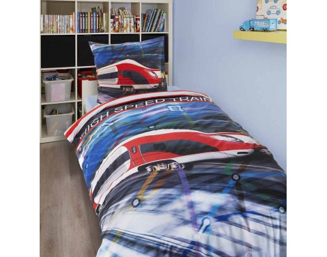 Dreamhouse High Speed Train Duvet Cover Set For Kids - Multicoloured - Single 3ft