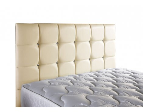 ValuFurniture Diamond Leather Headboard - Cream - Double 4ft6