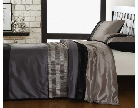 Fancy Embroidery Hills Duvet Cover Set - Grey - Double 4ft6