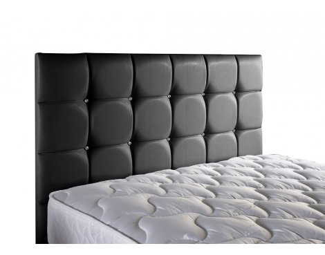 ValuFurniture Diamond Leather Headboard - Black - Double 4ft6