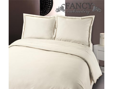 Fancy Embroidery Messina Cream Duvet Cover Set - Cream - Double 4ft6