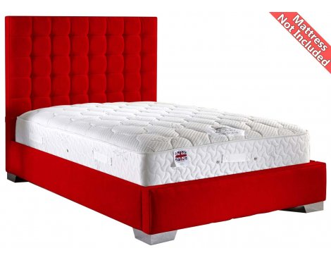 ValuFurniture Coppella Chenille Fabric  Divan Bed Frame - Red - Super King - 6ft
