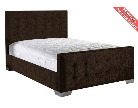 ValuFurniture Delaware Velvet Fabric Bed Frame - Chocolate - Small Double - 4ft