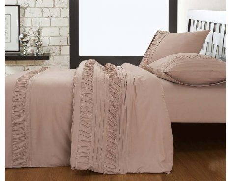 Fancy Embroidery Miami Duvet Cover Set - Taupe - Double 4ft6