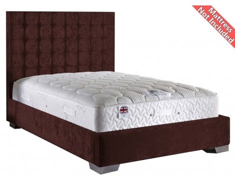 ValuFurniture Coppella Velvet Fabric Divan Bed Frame - Mulberry  -Double - 4ft 6
