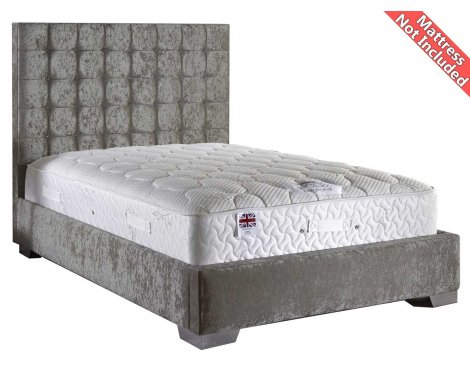 ValuFurniture Coppella Velvet Fabric Divan Bed Frame - Silver - King Size - 5ft