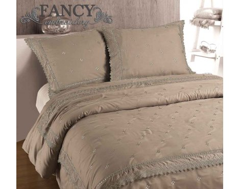 Fancy Embroidery RL 12 Taupe Duvet Cover Set - Beige - Double 4ft6