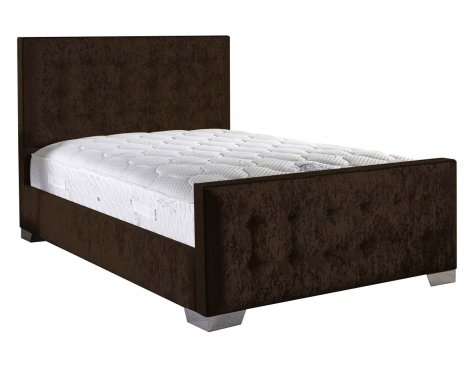 ValuFurniture Delaware Velvet Fabric Bed Set - Chocolate - Double - 4ft 6