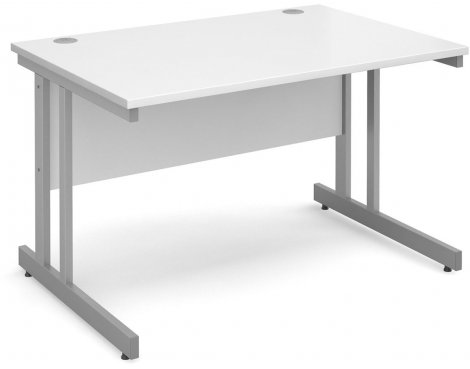 DSK Momento 1200mm Straight Desk with Cantilever Leg - White