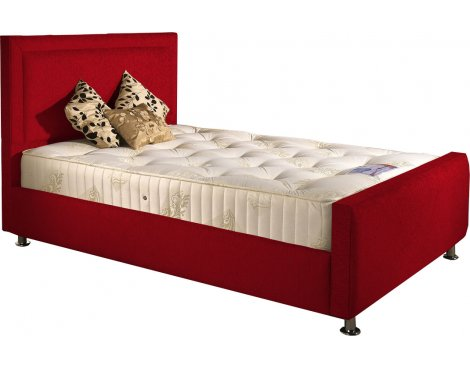 ValuFurniture Calverton Divan Bed & Mattress Set - Red Chenille Fabric - Single - 3ft