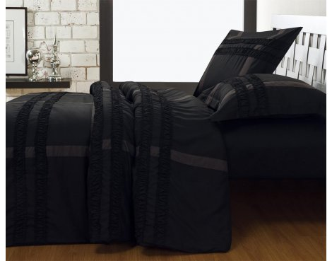 Fancy Embroidery Bradford Duvet Cover Set - Black - Double 4ft6