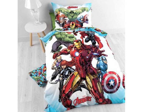 Disney The Avengers Cartoon Duvet Cover Set For Kids - Multicoloured - Single 3ft