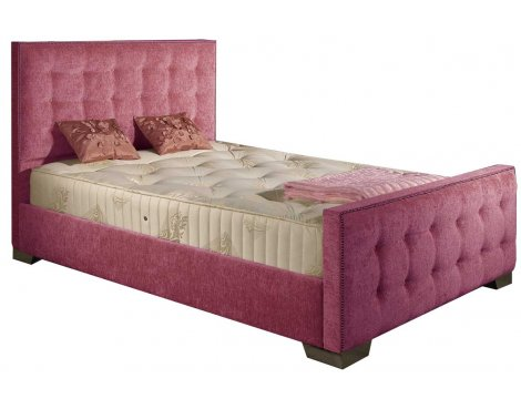 ValuFurniture Delaware Chenille Fabric Divan Bed Set - Pink - Double - 4ft 6