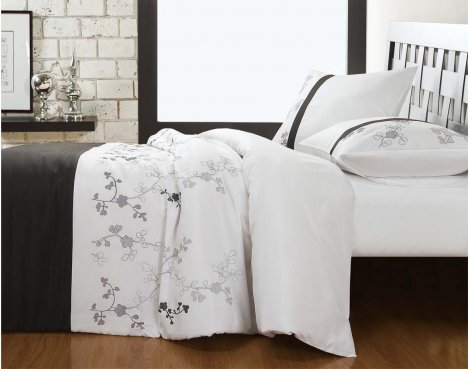 Fancy Embroidery Cold Forest Duvet Cover Set - Grey - Single 3ft