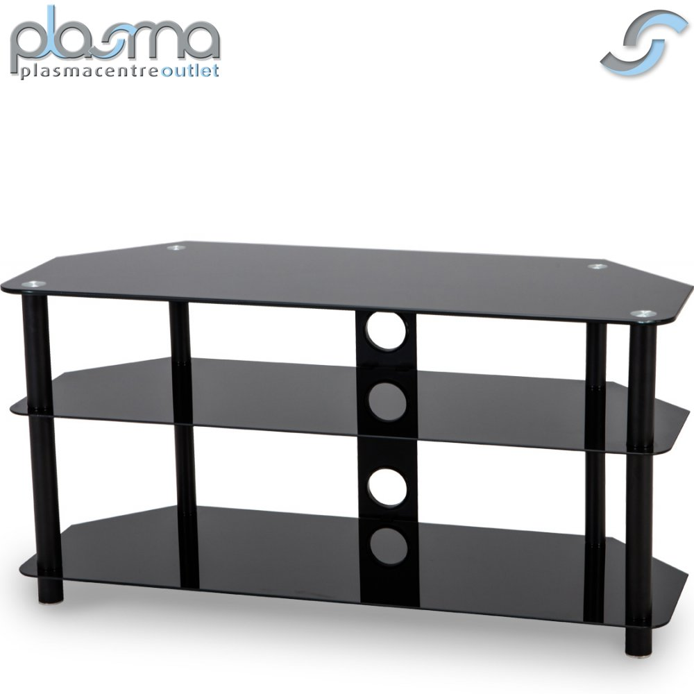 stealth mounts 1000mm black glass tv stand for tvs up to 50 ebay. Black Bedroom Furniture Sets. Home Design Ideas