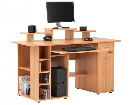 Alphason San Diego Workstation with Cupboard - Beech