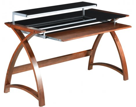 Jual Helsinki Curved Compact Walnut and Black Desk