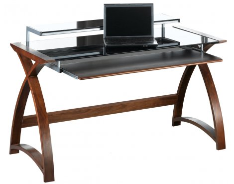 Jual Curve - Curved Walnut and Black Desk