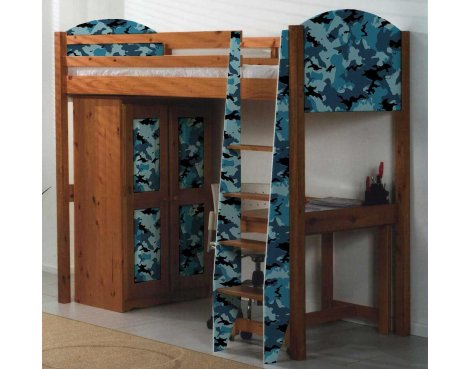 Boys Pine Highsleeper Bed with Camouflage Design
