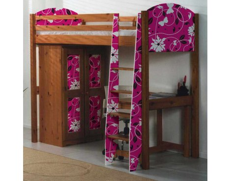 Girls Pine Highsleeper Bed with Butterfly Design