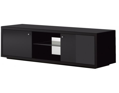 """Just Racks Black Cabinet with Cupboards for up to 60\"""" TVs"""