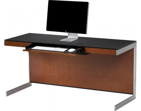 Sequel 6001 Desk in Natural Stained Cherry with Glass Top