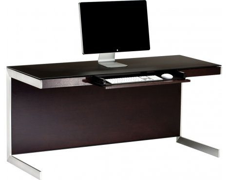 Sequel 6001 Desk in Espresso Stained Oak with Glass Top