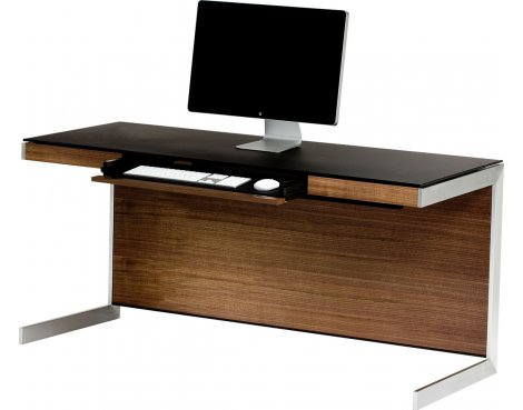 Sequel 6001 Desk in Natural Walnut with Glass Top