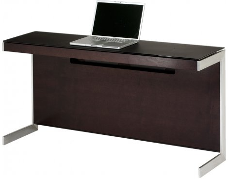 Sequel 6002 Desk in Espresso Stained oak with Glass Top