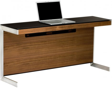 Sequel 6002 Desk in Natural Walnut with Glass Top