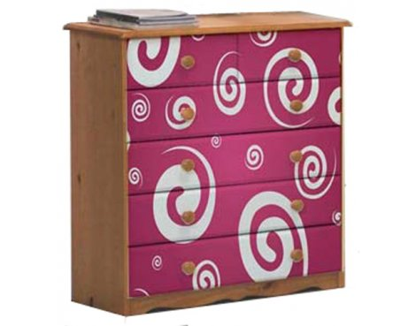 Girls Pine Chest of Drawers with Funky Pink Design