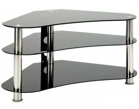"Universal LCD/Plasma 40\"" UM7 Curved Black Glass TV Stand Chrome Legs"