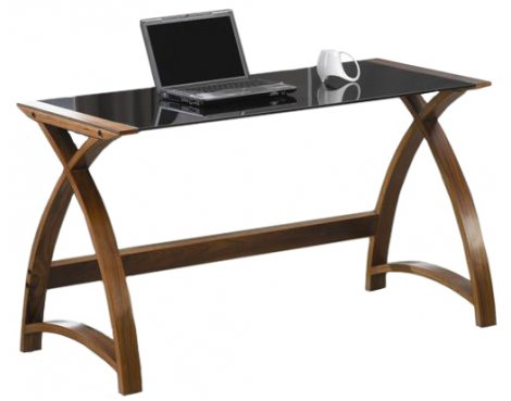 Jual Helsinki Curved Walnut and Black Glass Laptop Desk