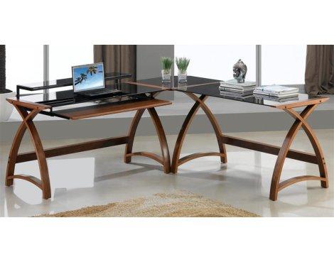 Jual Helsinki Curved Walnut and Black Desk