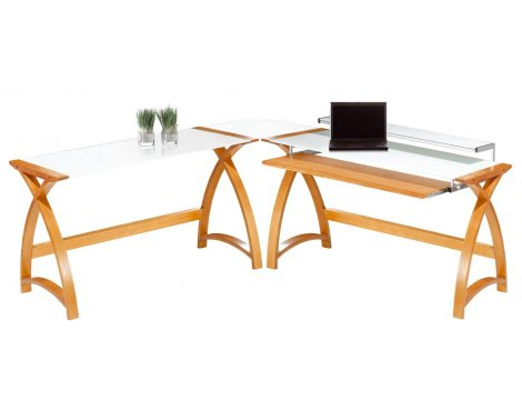 Jual Helsinki - Curved Oak and White Glass Desk