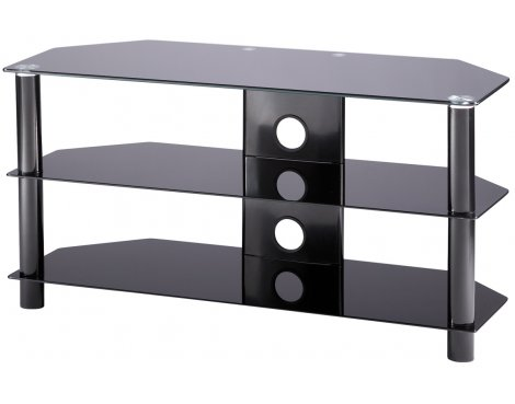 Alphason Essentials - 3 shelf black TV Stand for up to 42""