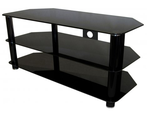 """Universal Black Glass TV Stand with Black Legs for TVs up to 55\"""""""