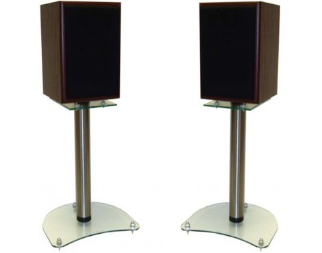 B GRADE/Box slightly damaged Pair of 400mm Speaker Stands with Clear Base