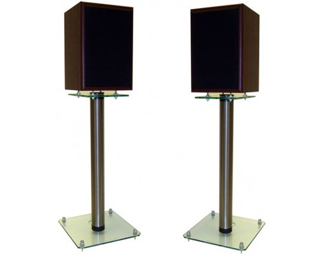 Pair of 500mm Speaker Stands with Clear Base