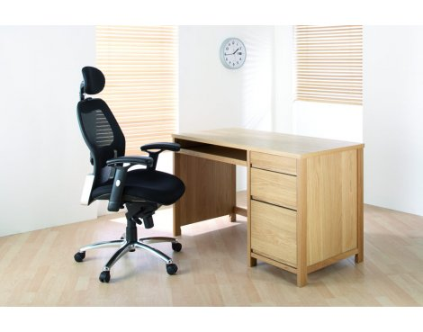 Alphason Hunter Oak Desk with Large Drawers and Sliding Keyboard Shelf