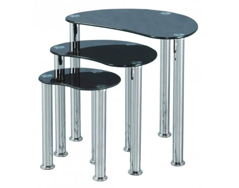 Cara Nest Of Three Tables - Black Glass