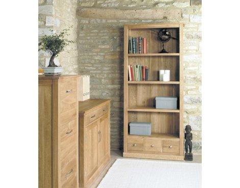 Mobel Oak Large 3 Drawer Bookcase
