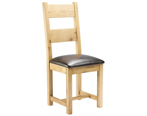 Chunky Oak Dining Chair with Padded Seat
