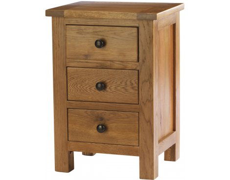 Auckland Solid Oak and Pine 3 drawer Bedside Table
