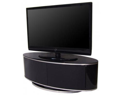 LUNA High Gloss Black Oval TV Cabinet